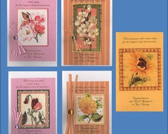 Handmade Bridal Shower Card -5 Variations Floral - Cards - Free Shipping in USA