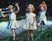 Girls in the garden-original painting -acrylic painting on canvas