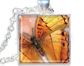 "20% OFF - Amber Butterfly 1"" Square Glass Pendant or with Necklace - SQ139"