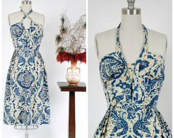 RESERVED ON LAYAWAY Vintage 1950s Dress - The Wailua Falls Dress - Stunning Hawaiian Convertible Halter Sundress in Blue and Gold Batik