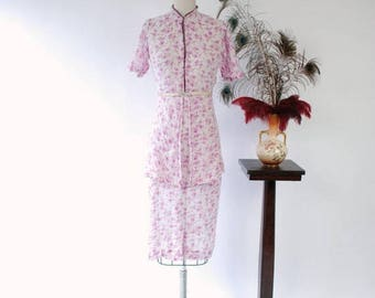 50% CLEARANCE Vintage 1930s Dress - Darling Floral Print Semi-Sheer Cotton Voile 30s Day Dress with High Neck and Split Peplum
