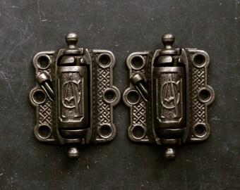 Antique Cast Iron Door Hinges, Monogrammed Hardware, Screen Door Hinges, Vintage Hardware, AC or CA Monogram, Eastlake Art & Crafts Hardware