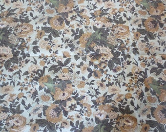 "Vtg Drapery Fabric Remnant / 4+ yards x 45"" wide / Pillow or drapery fabric / Fall Floral Birds Fabric Remnant / unused fabric"