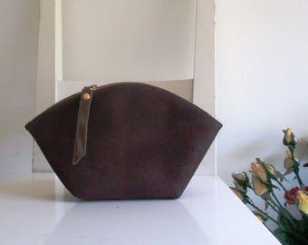 Makeup bag / Clutch / Pouch / Purse / Wallet - Brown Vegan Leather