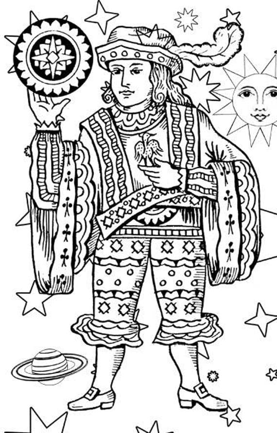 coins man tarot card adult and kids coloring page printable digital image download graphics line art digi stamp digital stamp printables