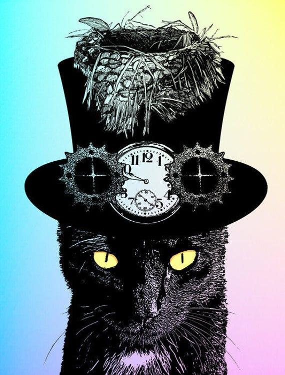 Mad Hatter black Cat original art print top hat steampunk original art print fantasy animals digital artwork