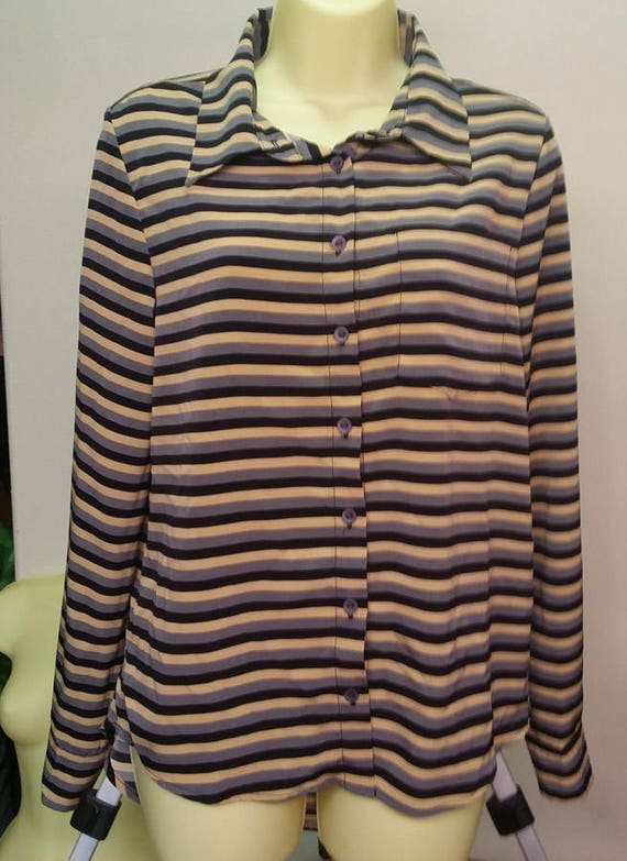 black and tan stripes long sleeve blouse womens button down shirt size Small top new ladys clothing