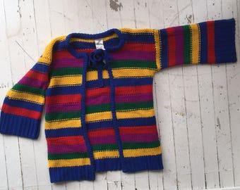 80s knit sweater / vintage rainbow sweater /  vintage sweater / rainbow / pride / bell sleeve sweater