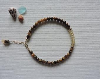 Tiger's eye & citrine gemstone bracelet - summer stacking bracelet - layering bracelet - citrine bracelet