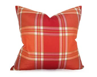 Pink Orange Decorative Pillow, Colorful Dorm Pillow Covers, Orange Pink Cushion, Fuchsia Pink Red Orange Green, 14x20, 18x18, 20x20, NEW