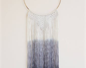Silky handmade dip dyed macrame necklace with gray fringe