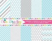 80% OFF SALE Digital Paper Pack Personal and Commercial Use Blue & Gray Winter Patterns