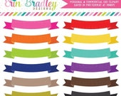 80% OFF SALE Text Banner Clipart for Invitations Teachers and Graphic Designers Clip Art in Rainbow Colors Personal & Commercial Use