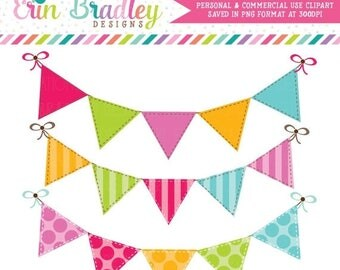80% OFF SALE Colorful Bunting Clipart Clip Art Banner Flags for Personal & Commercial Use