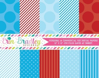 80% OFF SALE Digital Paper Pack Personal and Commercial Use Blue and Red Polka Dots and Stripes