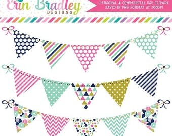 80% OFF SALE Pink Blue and Gold Bunting Clipart Set Personal & Commerical Use Digital Clip Art Graphics Banner Flags