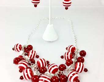 Chunky Beaded Cluster Necklace, Statement Necklace, Red White Candy Stripe Beads, Bold Jewelry