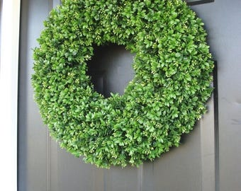 SUMMER WREATH SALE Artificial Boxwood Spring Wreath, Summer Wreath, Large 20 inch Natural Green Boxwood Wreath, Door Wreath