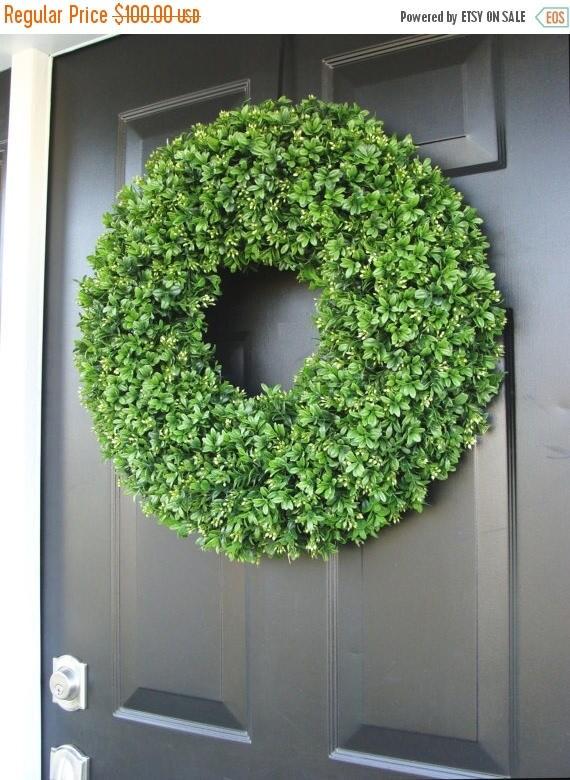SUMMER WREATH SALE Artificial Boxwood Spring Wreath, Summer Wreath, Large 20 inch Natural Green Boxwood Wreath, Door Wreath