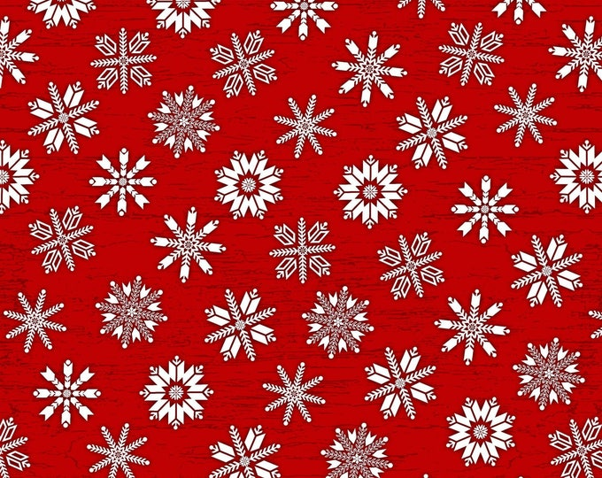 Christmas Holiday Flannel Fabric, Frosty Folks Red/White Snowflakes by Jan Shade Beach Collection