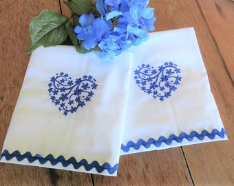 Blue Pillowcases, Percale Pillowcases, Machine Embroidery Pillowcases, Never Used, NOS Pillowcases, Heart Pillowcases