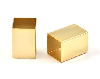 Geometric Tube Bead, 3 Huge Gold Plated Brass Square Tube Beads (14x20mm) Bs 1521