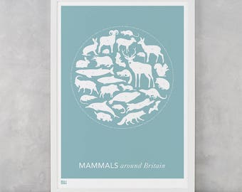 Mammals Around Britain Screen Print, Mammals Screen Print, Animals Wall Poster, Animals Wall Art, Britain Wall Art, Nature Wall Artwork