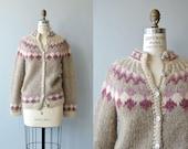 Sisimiut wool cardigan | vintage 1960s ski sweater | fair isle wool 60s cardigan