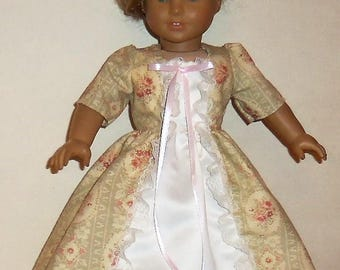 Historical Dress, 18 Inch Doll, Long Princess Dress, American Made, Girl Doll Clothing, Doll Costume, Colonial Party Dress, Doll Apparel