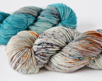 Two skein kit: Deadwood & Badlands 462 yards/ Posh DK Yarn/ superwash merino 3 ply speckle dyed