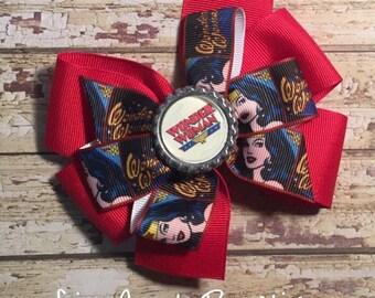 Wonder Woman pinwheel bow