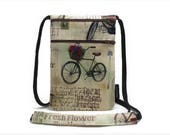 Ready to Ship, Fabric security travel pouch, Neck wallet, Passport holder, Small sling bag, Travel accessory, Zipper pouch, Vintage Bicycles
