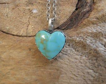 Turquoise Heart Necklace, Kingman Turquoise, Sweetheart Necklace, Gift for Her, Boho Necklace