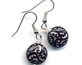 Black and Copper Earrings, Surgical Steel Earrings, Stainless Earrings, Art Nouveau Brocade Discs in Black and Copper Earrings