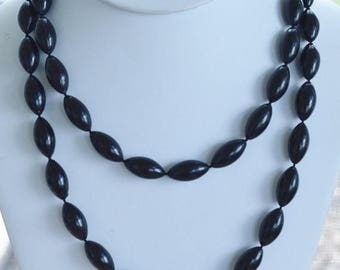 "On sale Pretty Vintage Black Plastic Beaded Necklace, 38"""