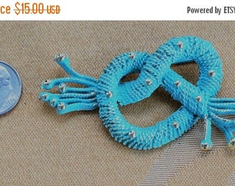 ON SALE Blue Green Knot Brooch, Pin, Gold tone, Vintage (W15)