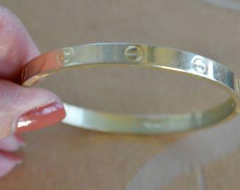 18kt Gold Plate Bangle Bracelet, Small, Vintage (TB103)