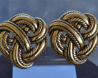 Antique Gold Large Knot Clip Earrings, Vintage, 1980's (TB225)