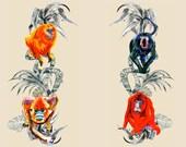 Monkeys textile print by Ray Clarke
