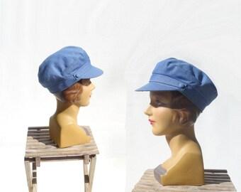 Vintage Newsboy Cap 70s Denim Hat Fishermans Hat Fishermans Cap Denim 70s Newsboy Cap Size 7 1/4 Large