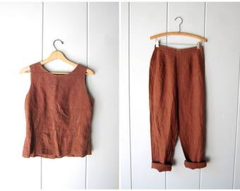 LINEN Pants Set Brown Linen Trousers & Matching Linen Tank Top Natural 90s Vintage Casual Pants Set Modern Minimal 2 Piece Womens Medium