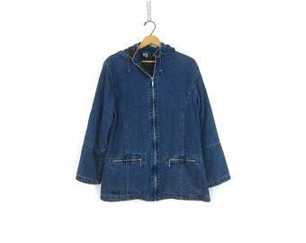vintage jean Jacket with Hood Dark Wash denim Hooded Coat Women's denim hoodie Jacket GS Preppy Coat Women's Size Small