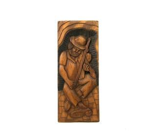 Vintage carved Picture wooden primitive folk art wood Wall Hanging Man with Fiddle Violin Home Ranch Decor Folk Art retro