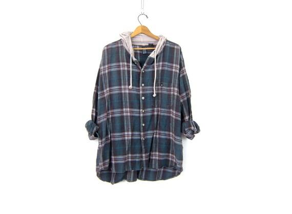 Plaid Flannel Hoodie Oversized Grunge Shirt w Hood Worn In Slouchy Thin Cotton Button Up Shirt Urban Street Shirt Vintage Small Medium Large