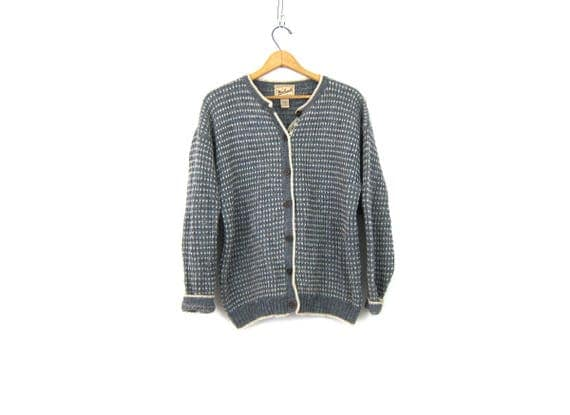 Wool Cardigan Sweater Gray and White Cardigan Preppy Sweater Button Down Wool Knit Sweater Womens Size Large