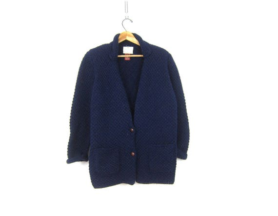 Navy Blue Wool Sweater Button Up Cardigan Sweater Thick Textured Wool Sweater Simple Minimal Layering Sweater Womens Size Large