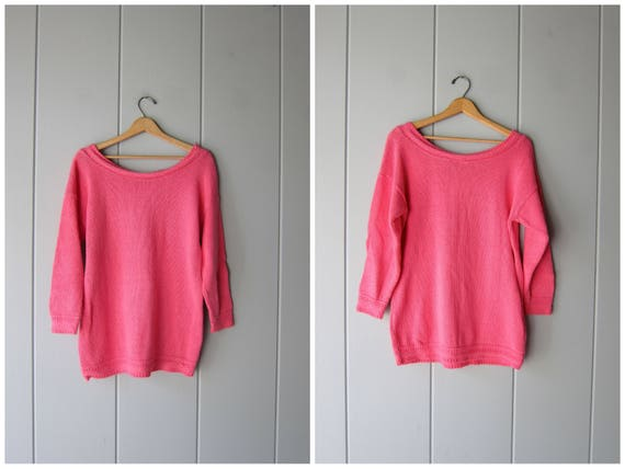 Oversized Cotton Sweater 80s Pink Pullover SCOOP NECK Long Sleeve Slouchy Preppy Soft Knit Sweater Top Vintage Womens Small Medium