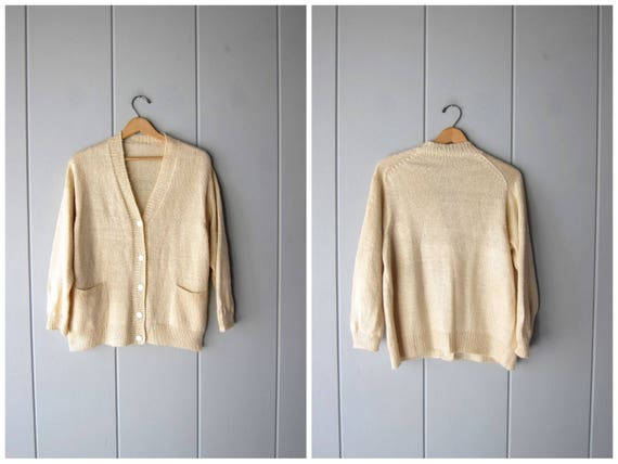 80s Soft Beige Cardigan Sweater Button Up Soft Thin Knit Minimal Sweater Vintage Preppy Basic Slouchy Jumper with Pockets Womens Large