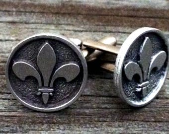 Fleur de Lis Pewter Cufflinks | Medieval Jewelry | Heraldry Jewelry | Gifts For Him | Handcrafted Jewelry | by Treasure Cast Pewter