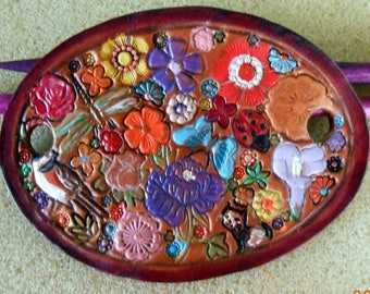 Leather Hair Barrette Made in GA USA OOAK Flower Garden Design with Bird Kitty Dragonfly and Butterfly